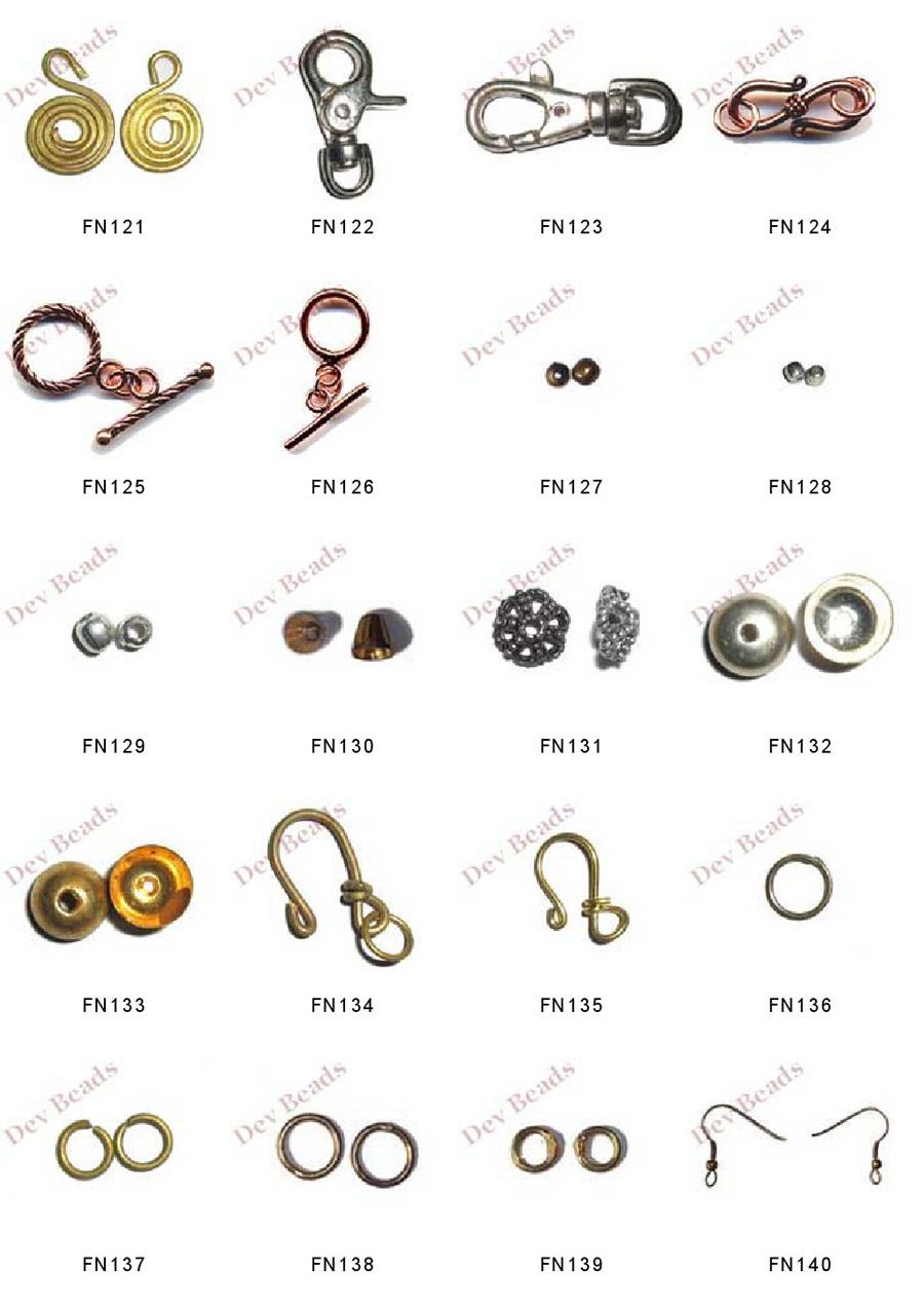 Jewelry Findings, Brass Jewelry Findings, Head Pins, Eye Pins, Crimps, Lobster Locks, Clasps.